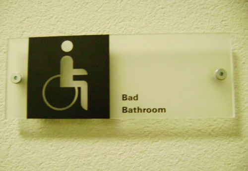 """Chinglish bathroom sign in China that reads """"bad bathroom"""""""
