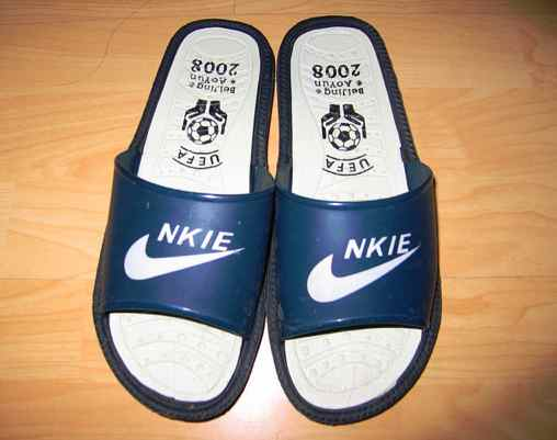 "Pair of brand knockoffs in China that say ""Nkie"""