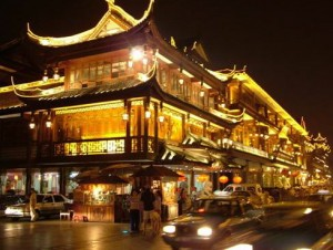 china city beautiful old streets night tourists travel