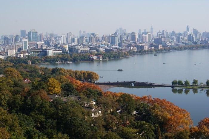 Overlooking the West Lake in Hangzhou