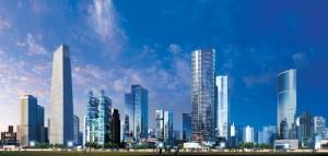modern chinese city beijing new hi-rise buildings skyscrapers