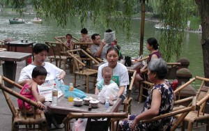 chinese family relaxing tea tourists travel