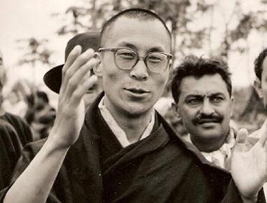 Black & white photo of The 14th Dalai Lama in 1959