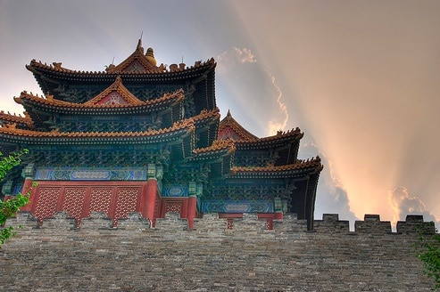 Scenic view of The Forbidden City building and walls