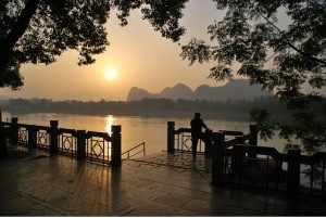 china tourists enjoying sunset li river guilin