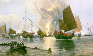 A graphic showing what the first Opium War may have looked like