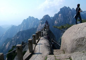 huang shan mountains hiking tourists