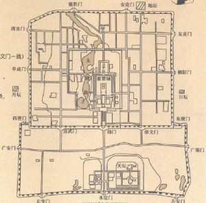 ancient map of beijing city grid system feng shui english
