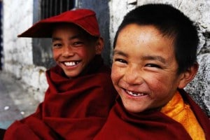 smiling young monks in lhasa tibet monestary