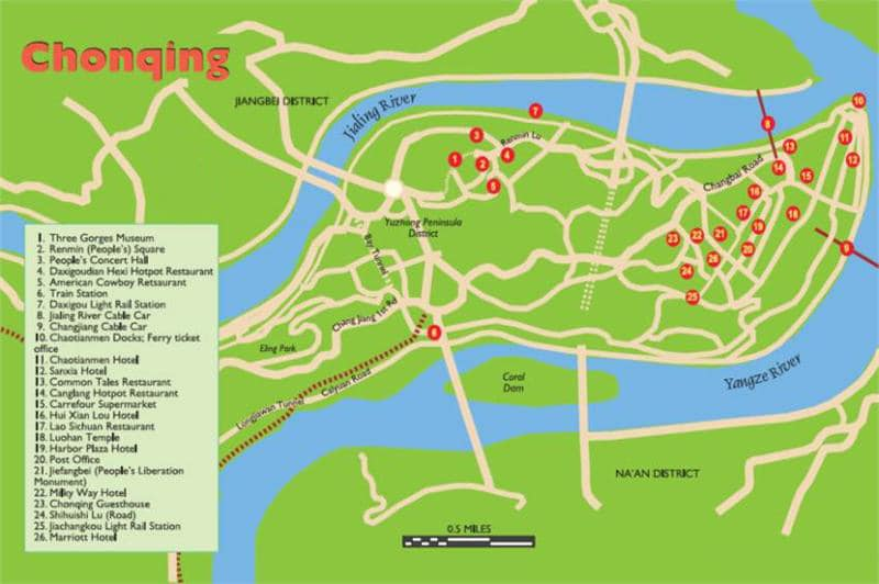 Chongqing tourist map Maps of Yangtze River area