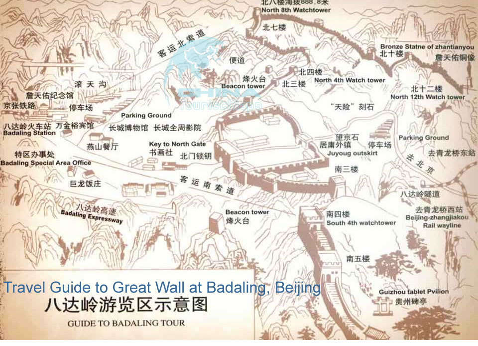 Map of Badaling (most popular place to see the Great Wall)