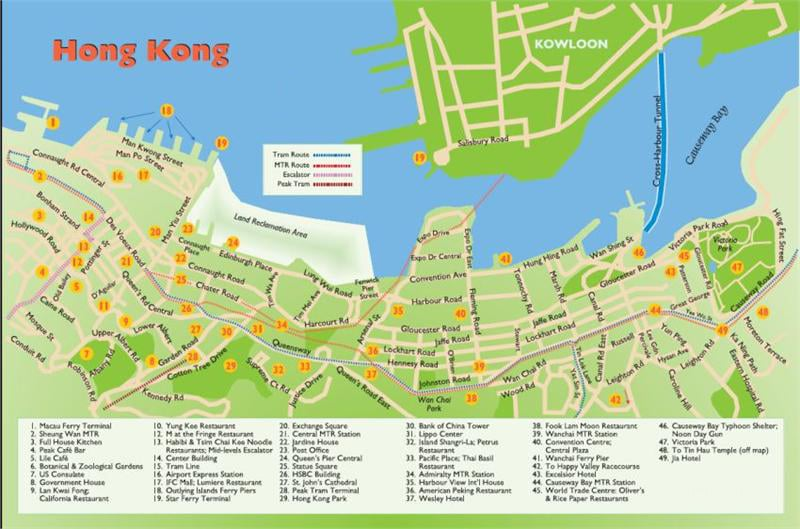 Hong Kong tourist map showing top attractions