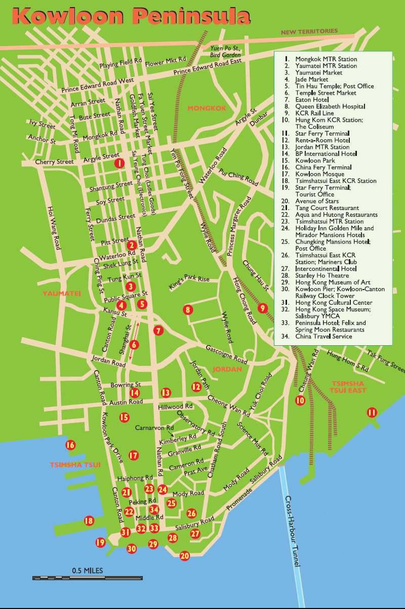 Kowloon tourist map showing top attractions, transportation, etc
