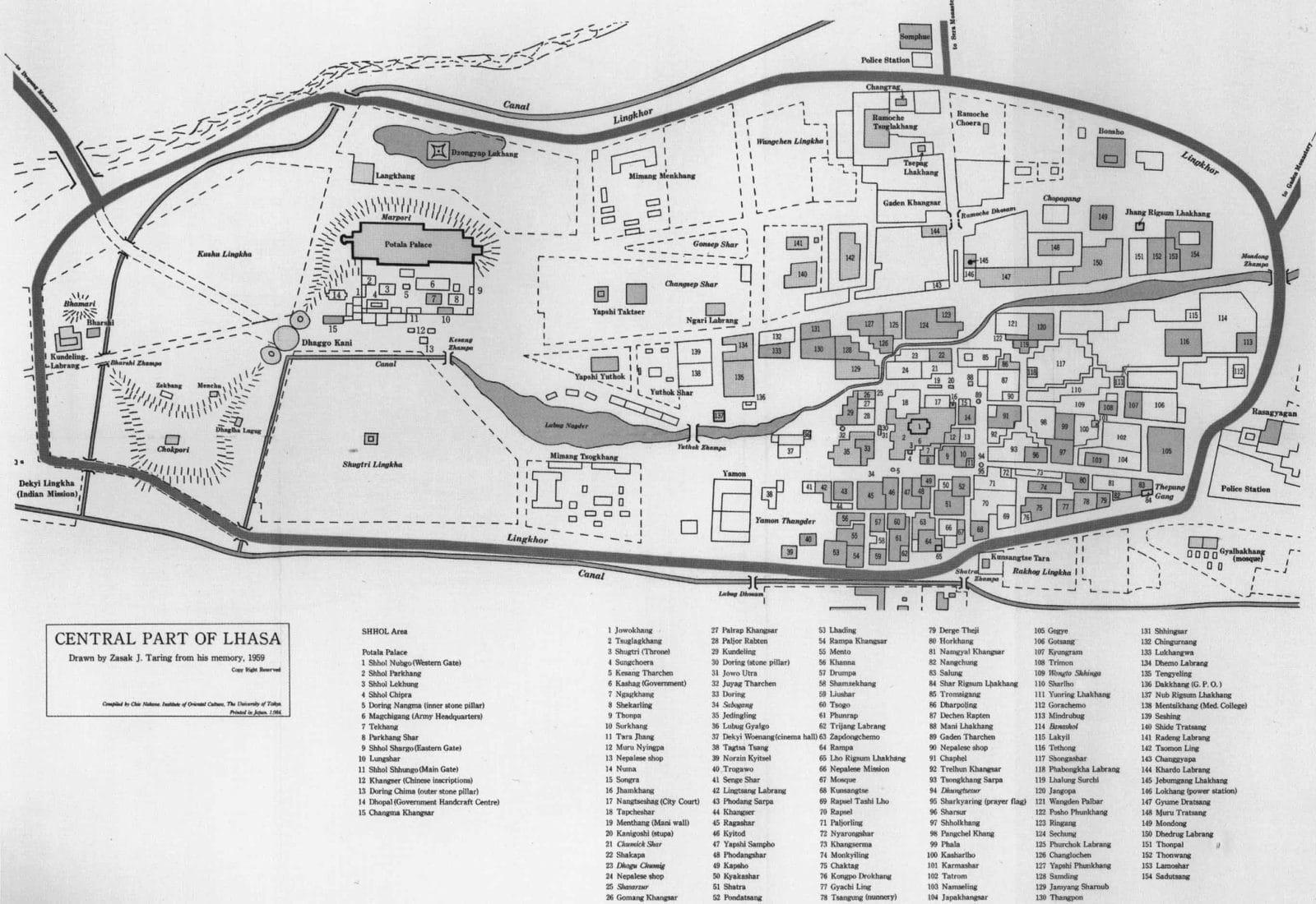 Lhasa detailed street map