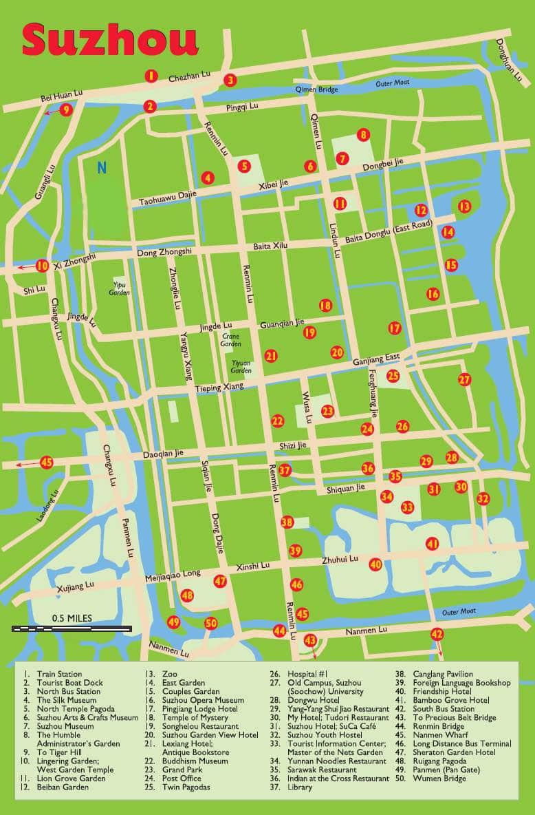 Suzhou tourist map: top attractions, restaurants, hotels, etc