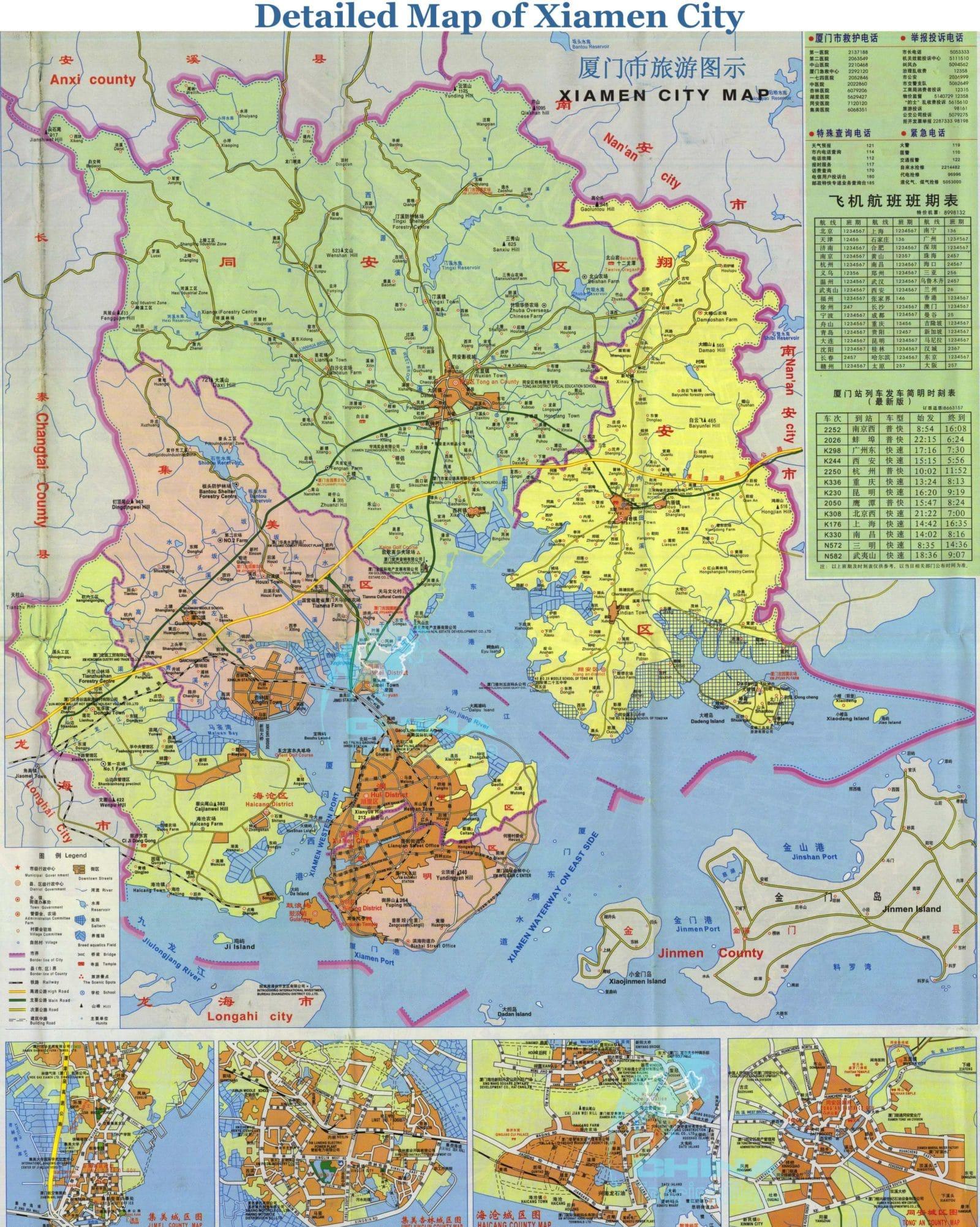 Xiamen China travel maps  Printable hires tourist map of Xiamen