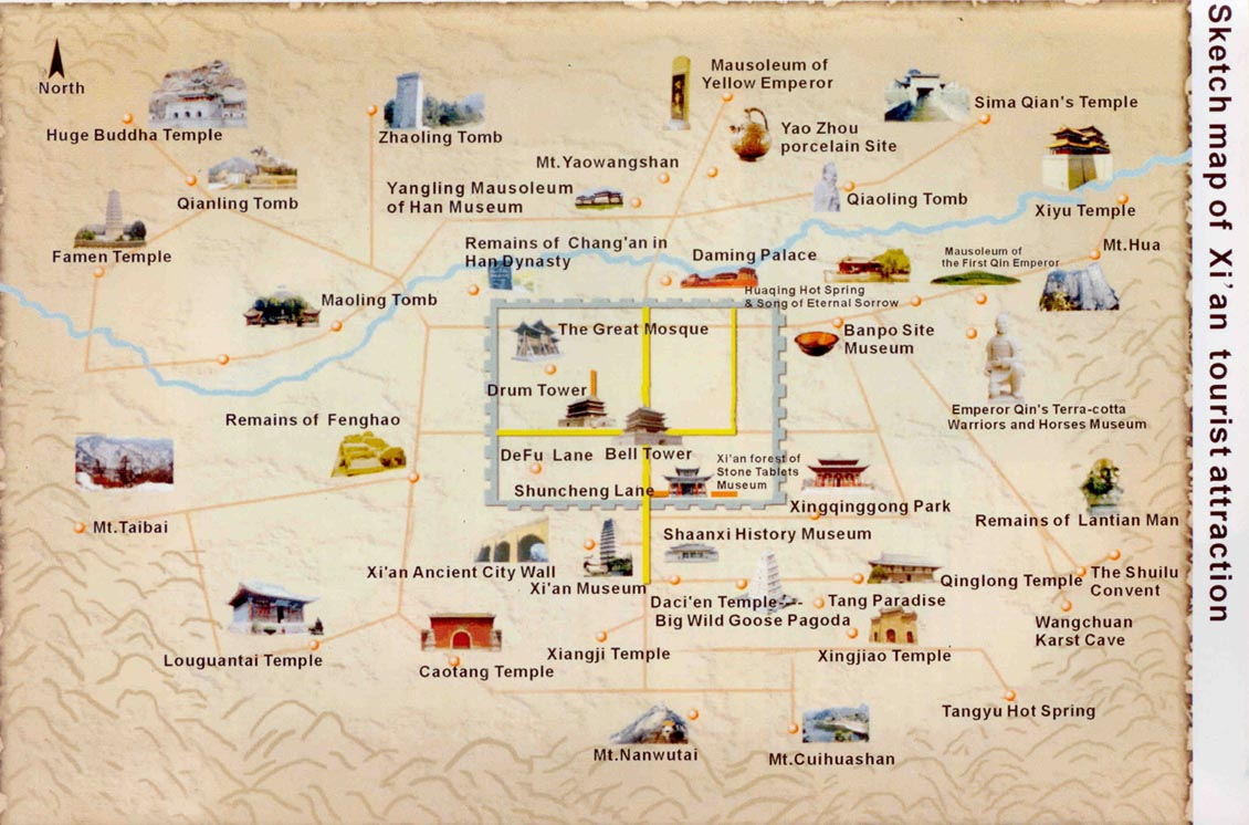 Xian, China metro area tourist attractions map