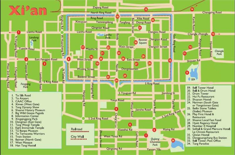 Xian map: Top tourist attractions, restaurants, hotels, etc
