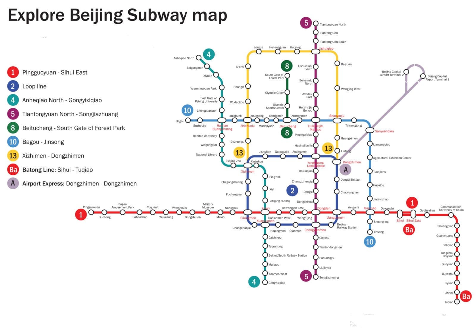 Beijing subway map 2012 2013 | Printable metro system maps
