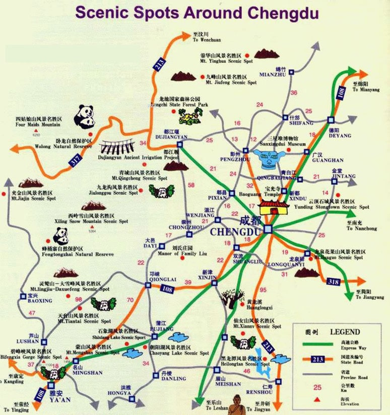 Chengdu, China greater metro area map showing top attractions