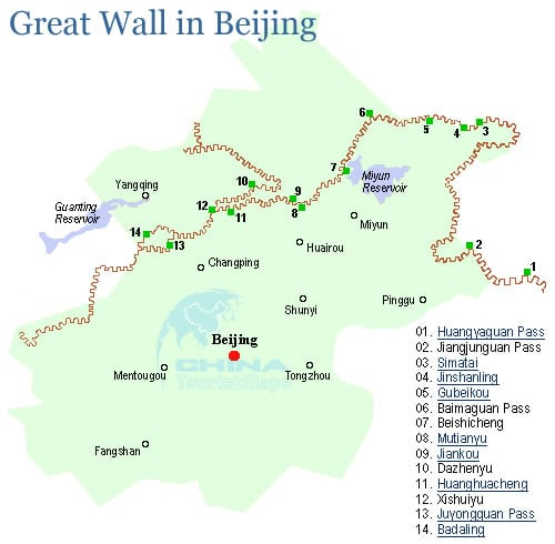 Great Wall of China map  Travel maps of Badaling Mutianyu