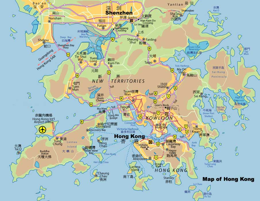 A map of Hong Kong, the New Territories, Lantau Island and Shenzhen