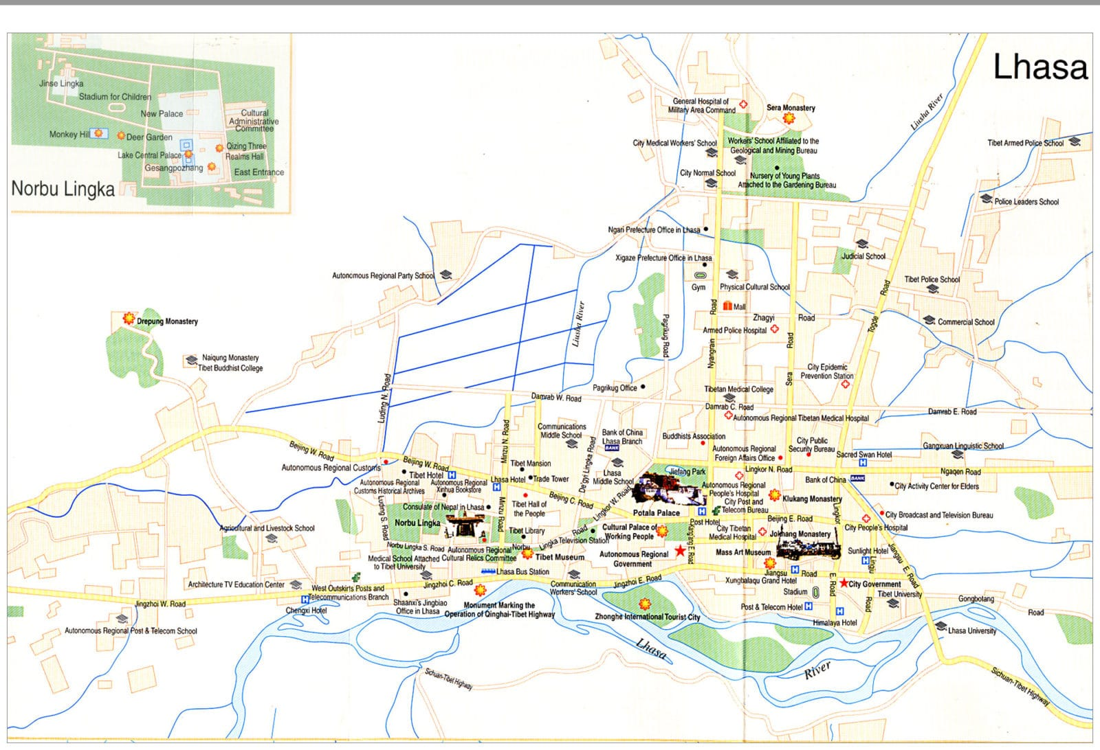 Lhasa, Tibet city tourist map