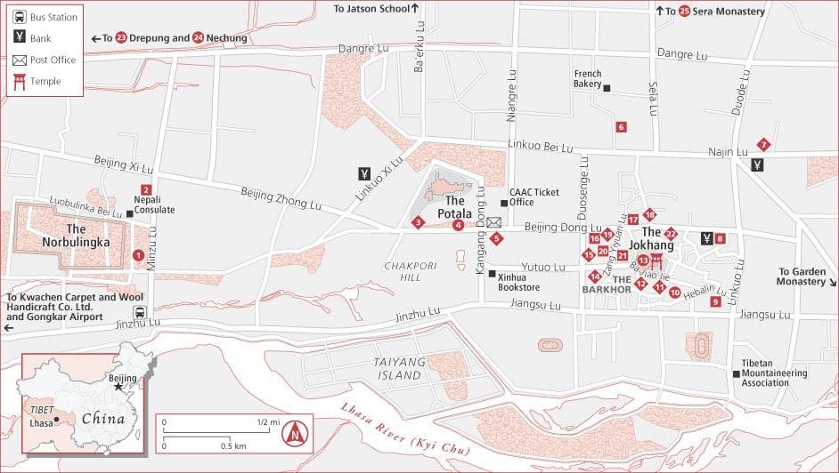 Lhasa city center tourist map (best restaurants, hotels etc)