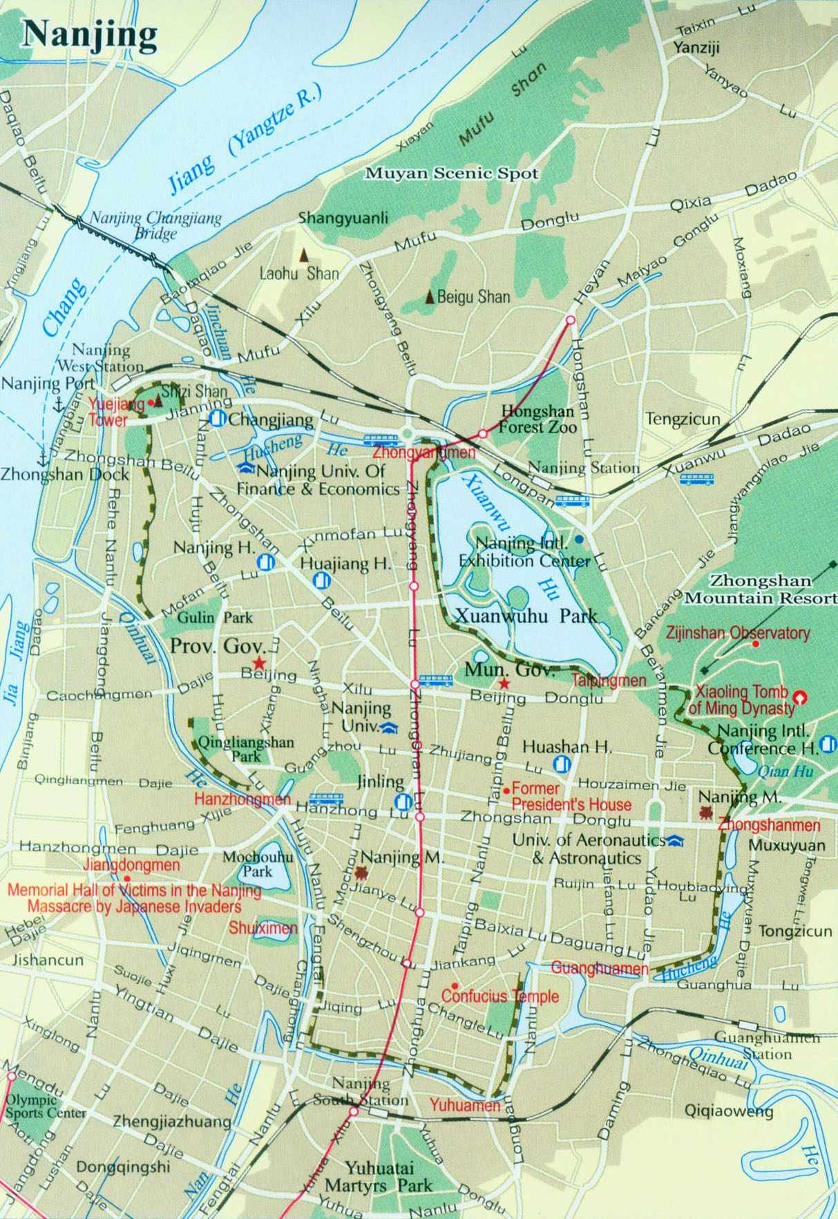 A map of the city of Nanjing and scenic areas