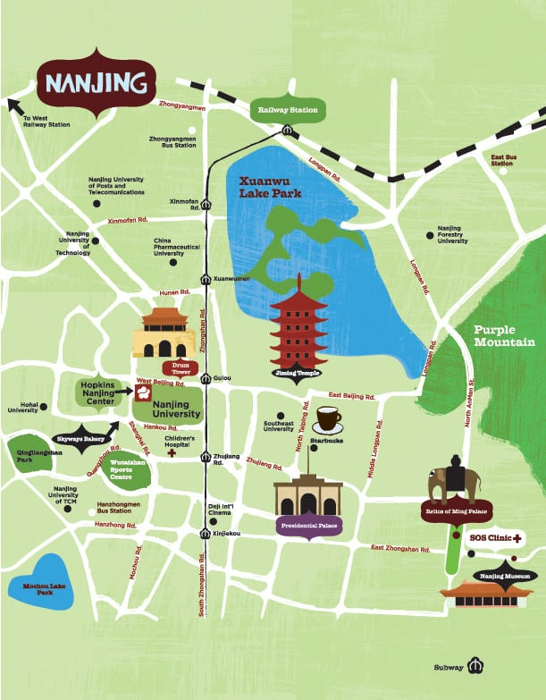 Nanjing top tourist attractions map