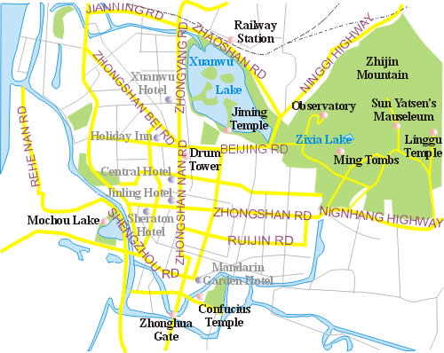 A map of Nanjing area top attractions