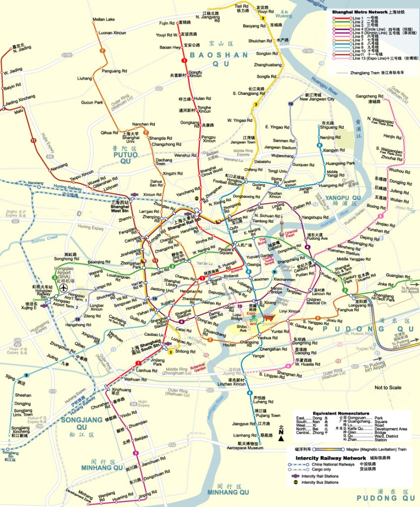 Shanghai metro system route map (overlay physical map)
