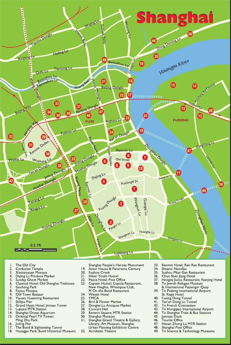Shanghai tourist map: city center top attractions, hotels, restaurants