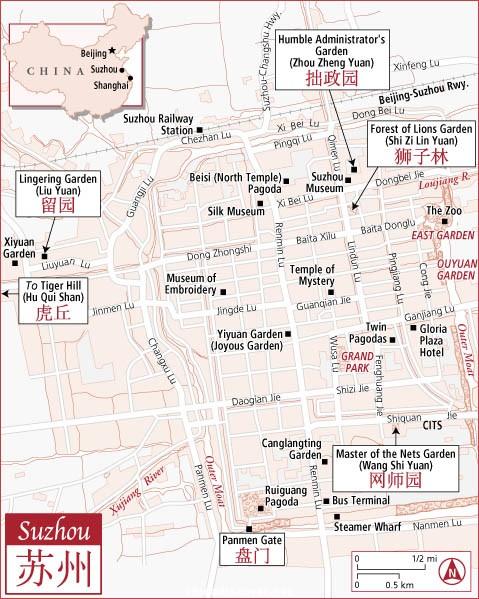 Suzhou, China city street map: main tourist highlights