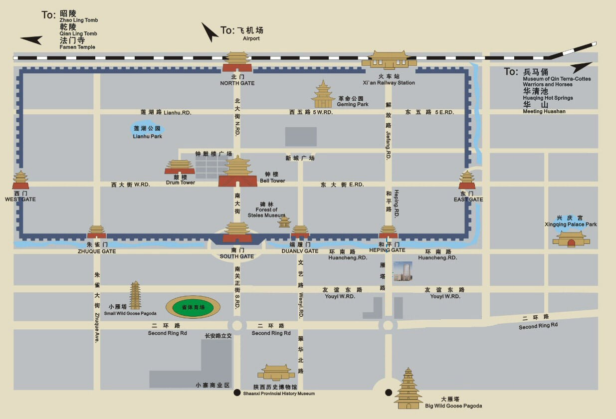 Map of Xian's old city in Chinese