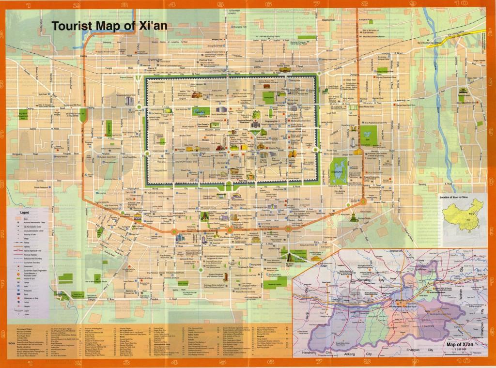 Xian travel map: detailed city street map (tourist highlights)