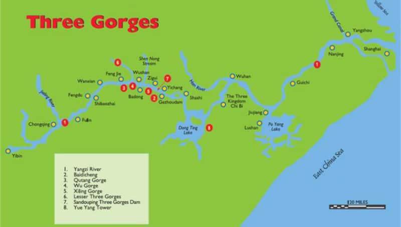 yangtse river cruise map
