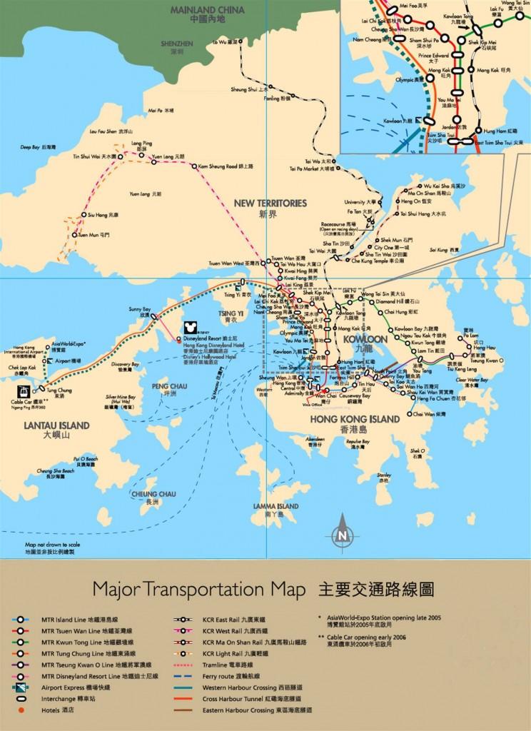 Hong Kong Major Transportation Map