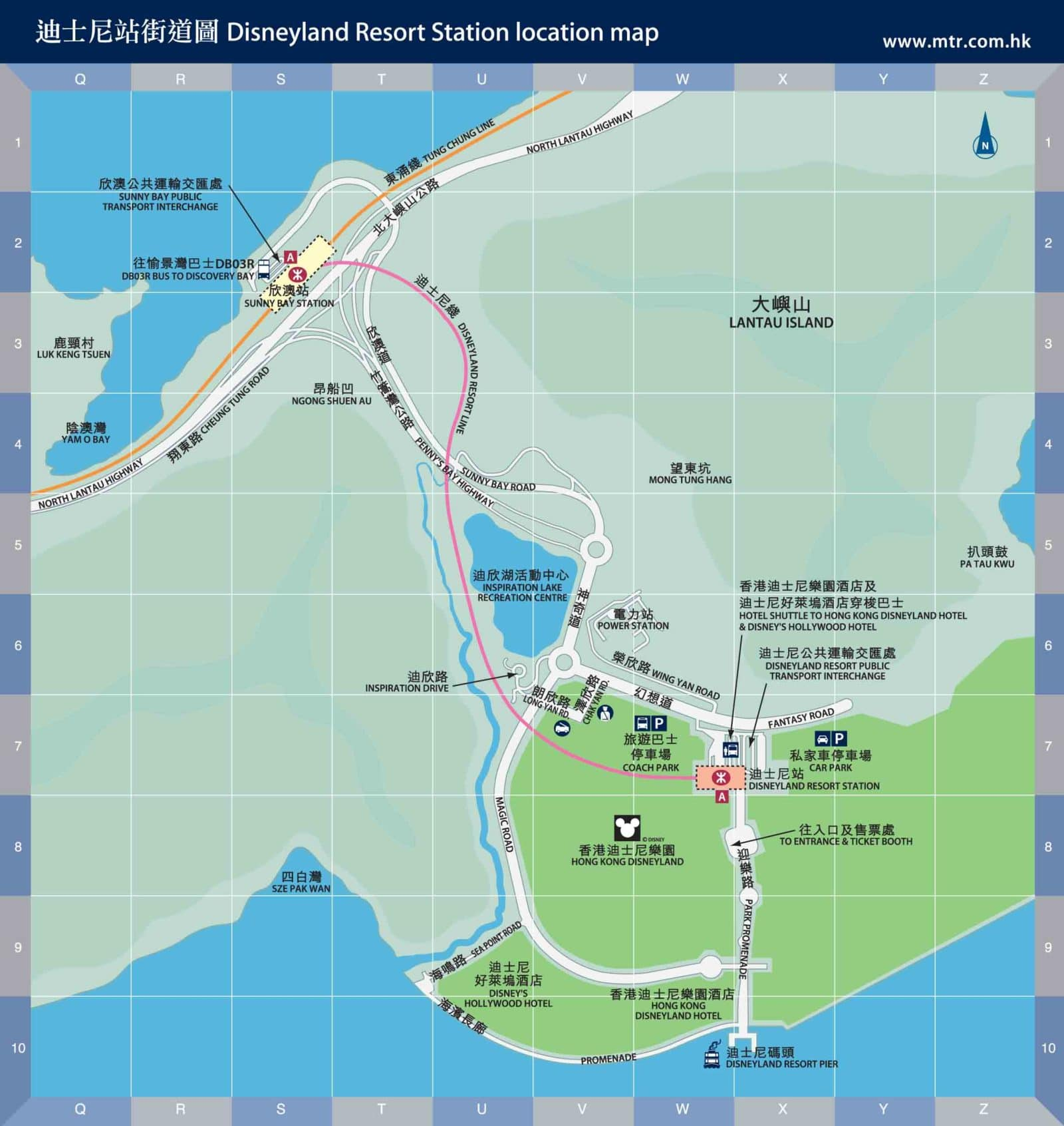 Lantau Island: Disneyland MTR station area map 2012-2013