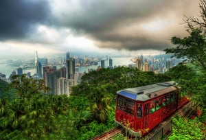 A peak tram in motion in Hong Kong