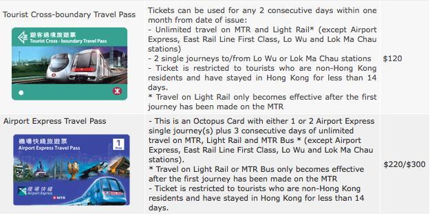 Hong Kong transportation tourist cross-boundary travel pass and airport express travel pass