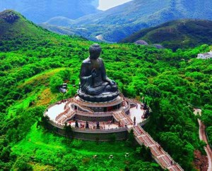 Aerial view of the Tian Tan Buddha
