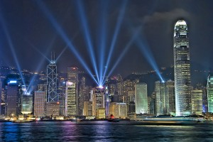 Hong Kong's evening skyline during the symphony of light laser & light show