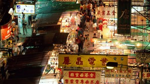 Aerial view of Hong Kong's Temple Street Night Market