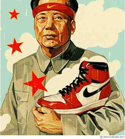 Portrait of China's Mao ZeDong holding a fake Nike shoe