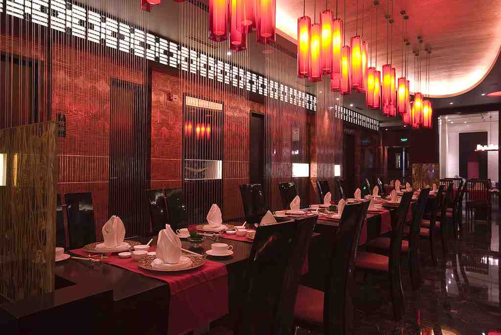 Inside setting of a luxury restaurant in China