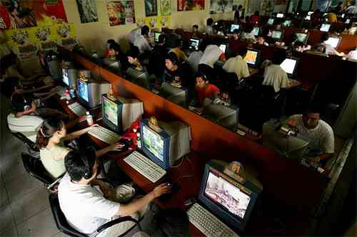 Chinese internet users in an internet cafe