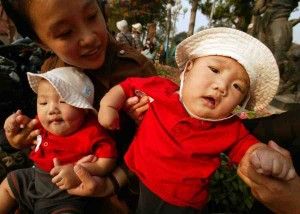 A Chinese mother with two babies