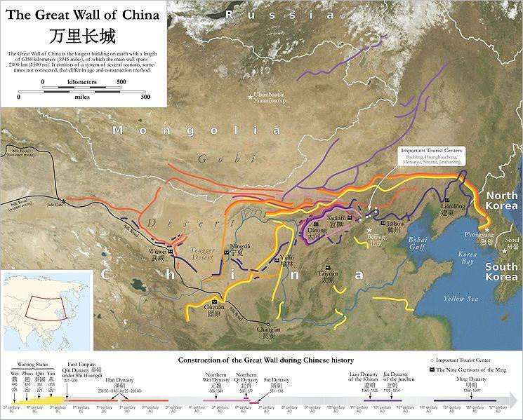 A map of the various parts of the Great Wall of China
