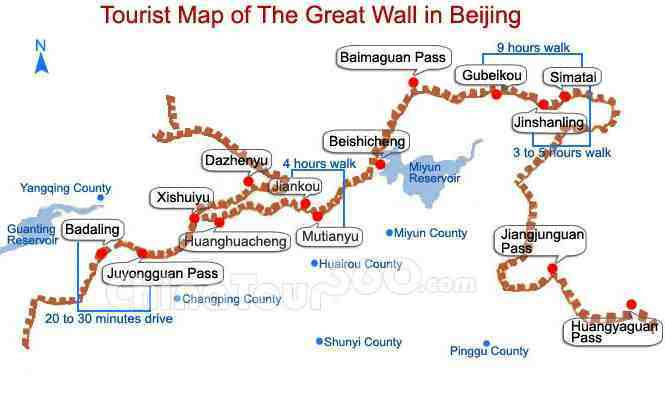 Tourist map of the Great Wall near Beijing, China